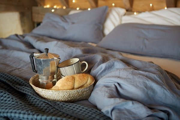 Fresh coffee and bread make for a luxury start to the day in the holiday cottage
